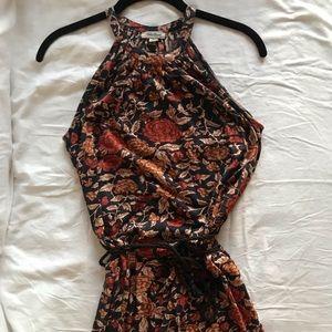 Lucky brand floral maxi halter SOFT w waist tie